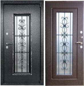 дверь металлическая порошок со стеклом