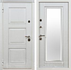 дверь входная белая с зеркалом под заказ