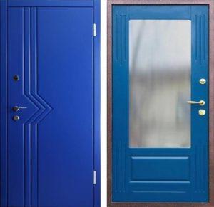 дверь входная синий мдф с зеркалом