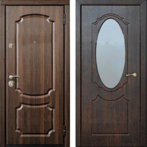 двери с панлями металл с зеркалом