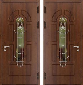 уличная дверь мдф+стекло+ковка