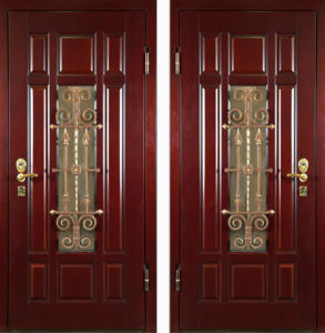 железные двери в Мдф +стеклопакет