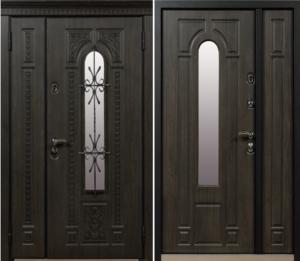 двери входные полүторные со стеклом