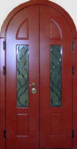 стальные арочные двери+стекло