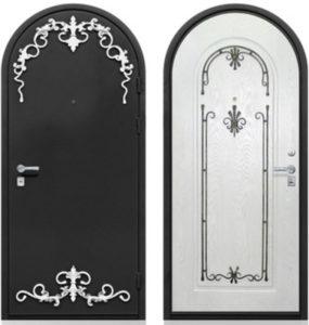 Стальная арочная дверь порошок с ковкой и МДФ