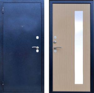 дверь синяя в порошке с зеркалом
