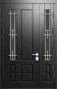дверь двухстворчатая в порошке+ стекло