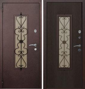 двери со стеклом +и ковкой