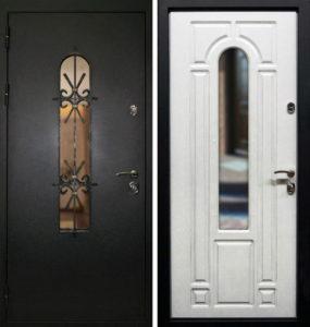 дверь входная в порошке со стеклом и ковкой