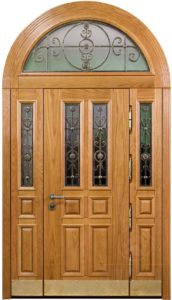 входная арочная дверь Мдф+стекло