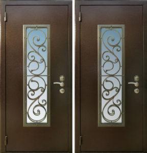 стальные уличные двери в порошке со стеклом