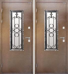 двери железные со стеклом и ковкой под заказ