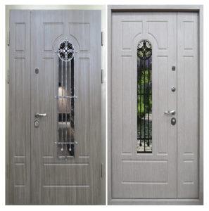 дверь двухстворчатая Мдф+стеклопакет от производителя