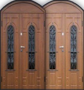 Двери стальные Мдф с арой +стеклопакет с ковкой