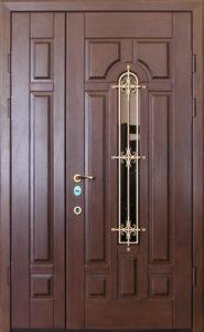 входная двухстворчатая дверь в Мдф+стеклопакет купить