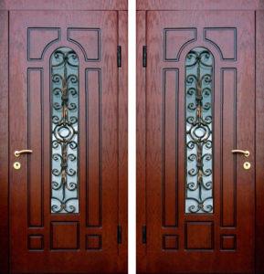 металлические двери +с ковкой +и стеклом под заказ