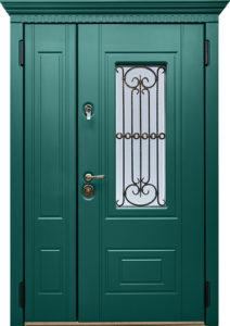 дверь зеленая двухстворчатая под заказ