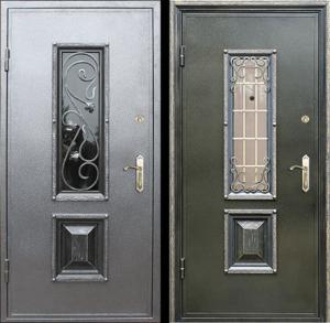 двери стальные стеклопакет с ковкой под заказ