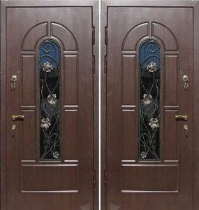 входные двери со стеклом +и ковкой заводские