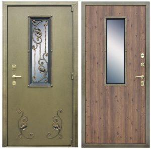 двери входные порошок+Мдф+стеклопакет с ковкой купить