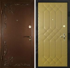 двери эконом порошовое напыление+винил с ковкой