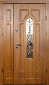 двери двойные в мдф +стекло+ковка