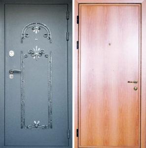 входные двери с отделкой ламинат +напыление с ковкой